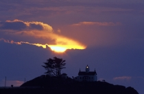 TWE38104.jpg  North America,USA,California,Crescent City,Battery Point Light House with Sunset